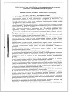 Общие условия договора потребительского займа